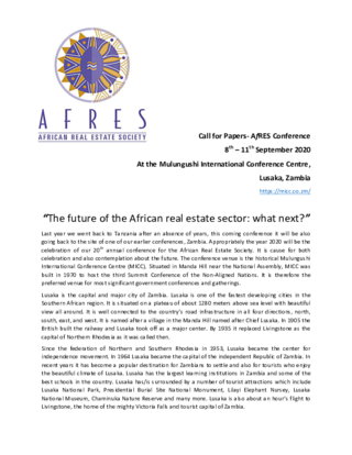 """CfP: """"The future of the African real estate sector: what next?"""" - AfRES Conference 2020"""